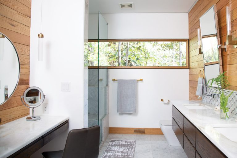 This renovated bathroom in Sandy Springs is inspired by the owner's lush backyard