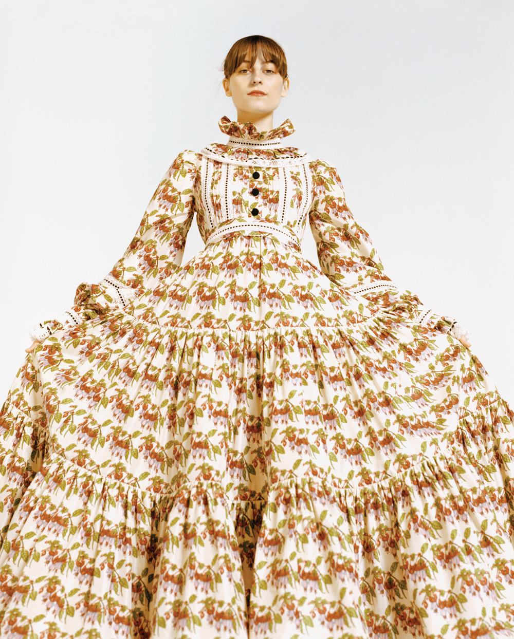 Faye Webster wearing a wide dress from Marc Jacobs