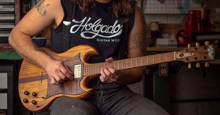 These handcrafted guitars are made with lumber salvaged from the former Masquerade