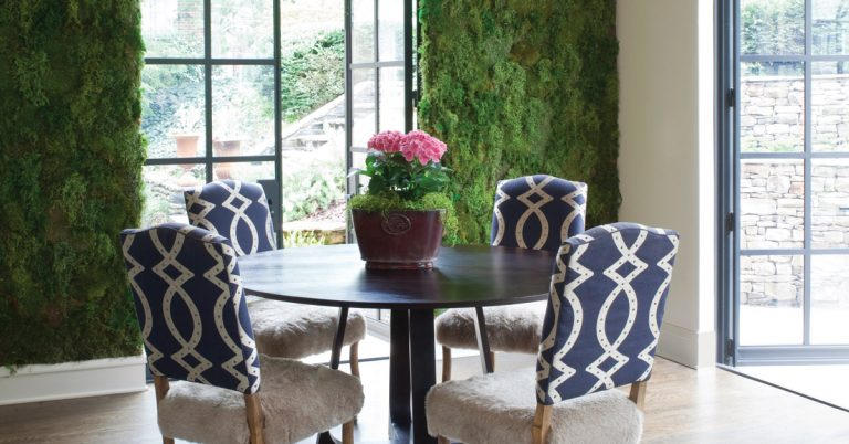 A moss wall adds a touch of nature to this Druid Hills home