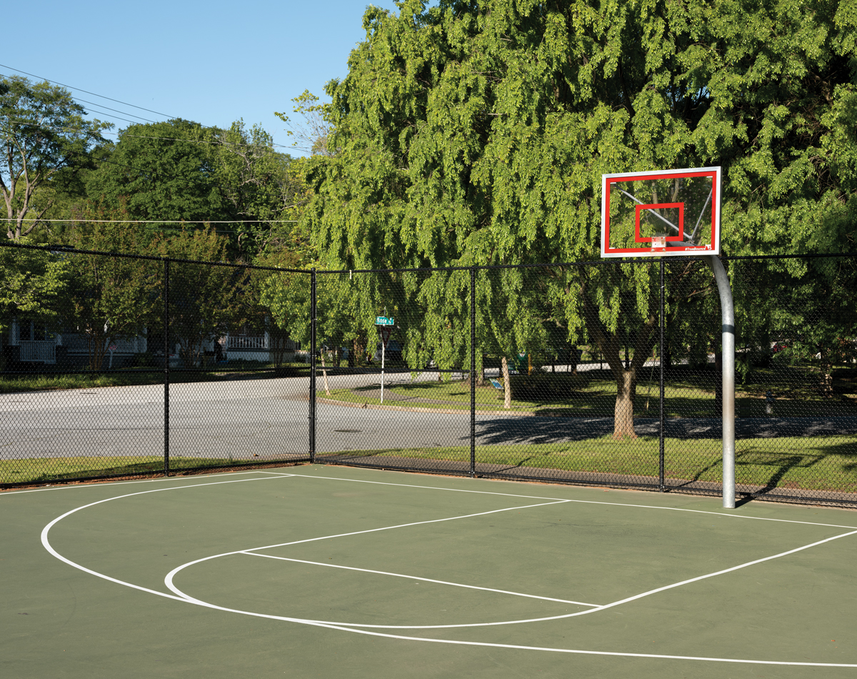 An empty basketball court