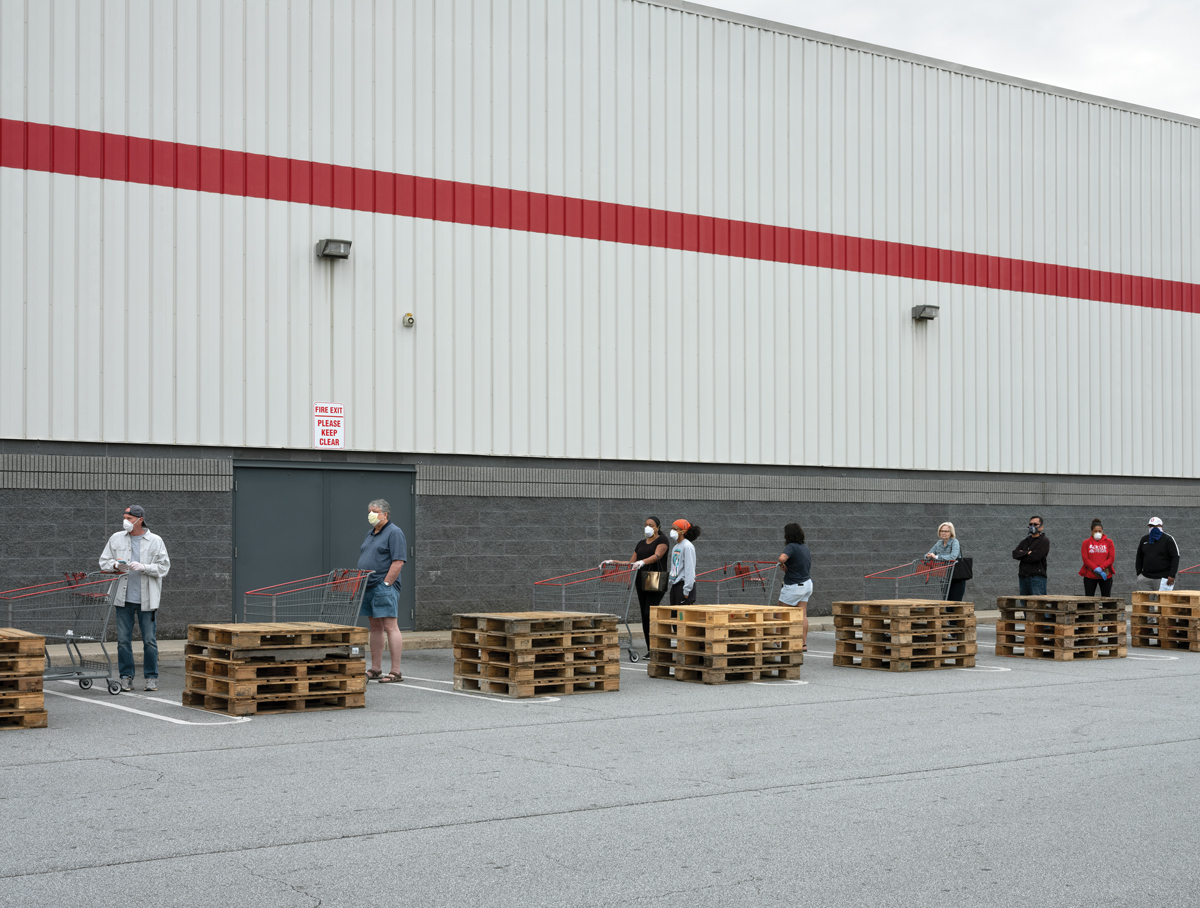 People wait in line at the Kennesaw Costco