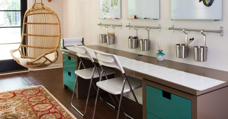 This versatile room does triple duty for studying, crafts, and playtime