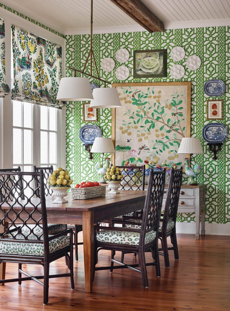 This lively breakfast room plays with plenty of patterns