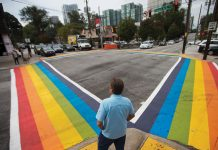 The Rainbow crosswalk at 10th and Piedmont