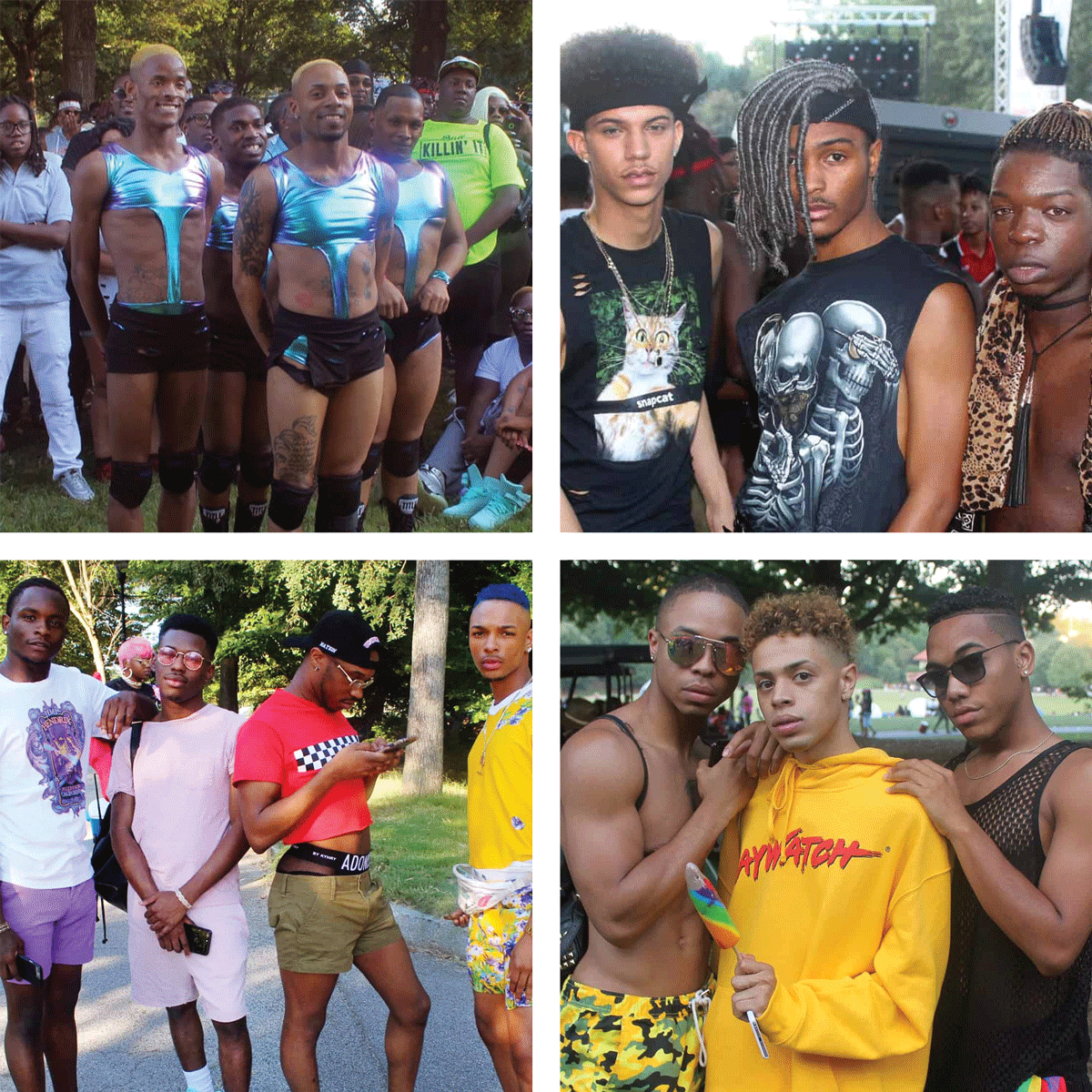 Groups of black gay men at various pride events