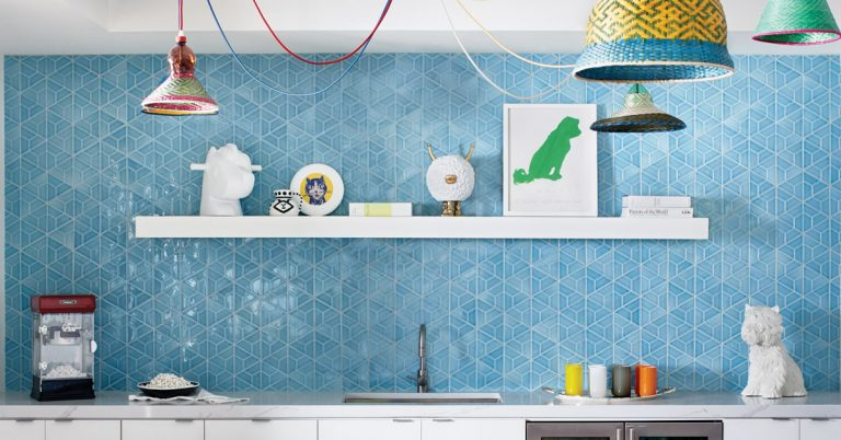 Room Envy: Colorful recycled light fixtures add whimsy to this kitchenette