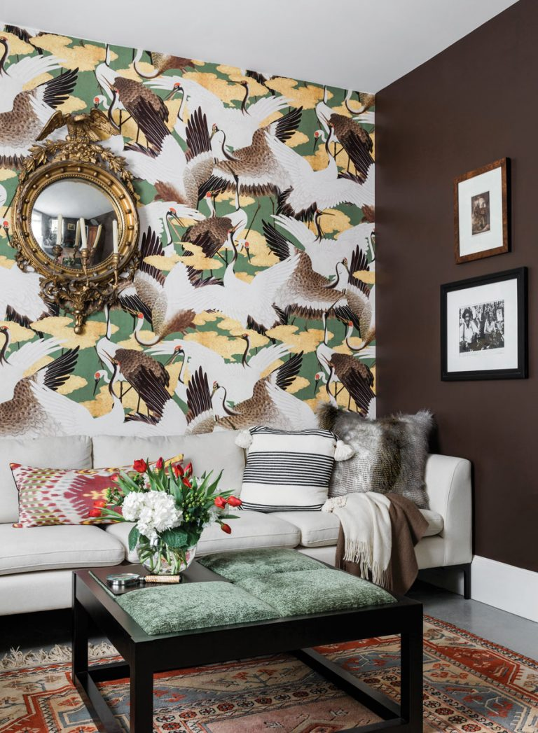 Room Envy: Bold crane wallpaper makes this cozy study stand out