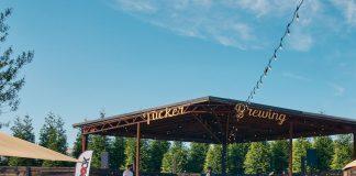 The spacious outdoor beer garden at Tucker Brewing Company