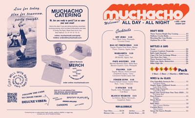Muchacho menu